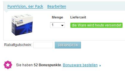 Rabattgutschein bei 321linsen.de eingeben
