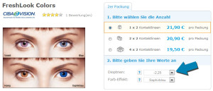 Beispiel: So bestellen Sie farbige Kontaktlinse mit Sehstärke