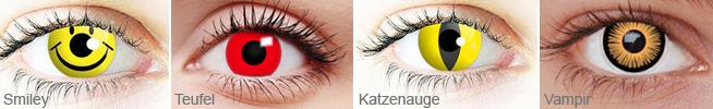 Beispiel für Kontaktlinsen zu Karneval und Fasching