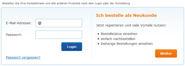 MrLens.de erfordert Registrierung als Kunde