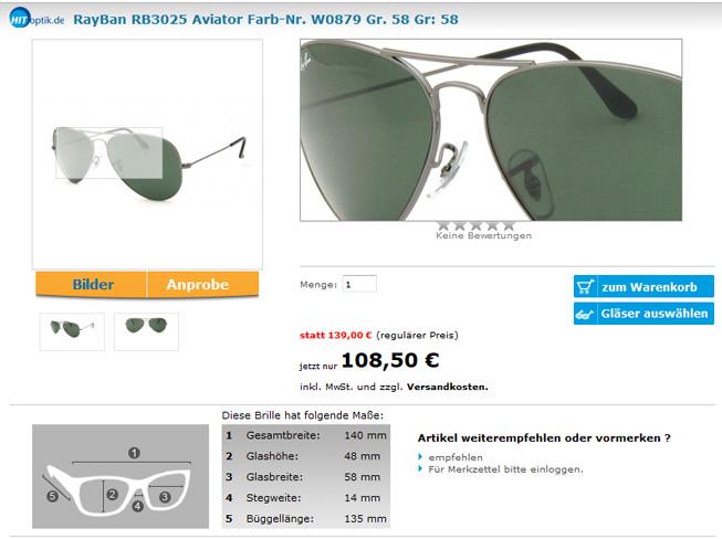 Detailseite auf Hit-Optik.de
