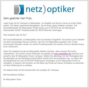 Information zur Übernahme von Netzoptiker.de vom 09.02.15