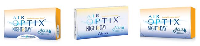 Die verschiedenen Verpackungen der Air Optix Night & Day Aqua