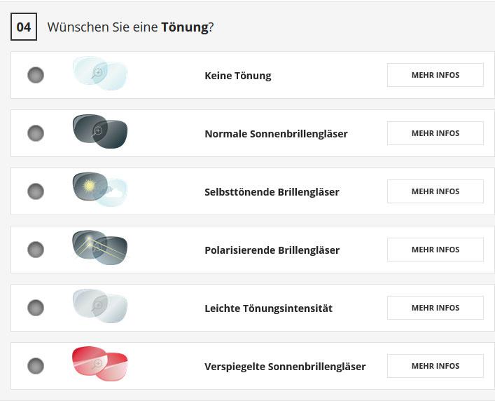 Auswahl der Tönung bei Eyeglass24