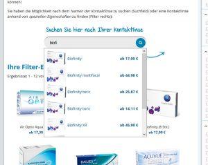 Optimierte Freitext-Suche im Kontaktlinsen-Preisvergleich von InternetOptiker.de