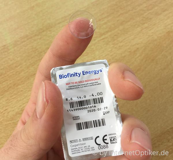 Biofinity Energys Kontaktlinse samt Blister