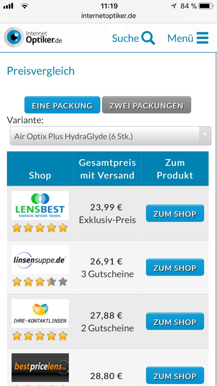Kontaktlinsen Preisvergleich von InternetOptiker.de