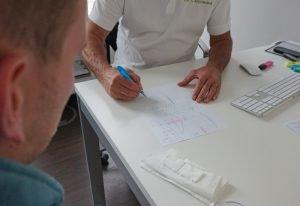 Dr. Christmann erklärt und skizziert den Ablauf einer Augenlaser-OP